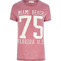 Red Miami 75 burnout t-shirt