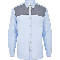 Blue chambray yoke Oxford shirt