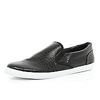 Black mock crock slip on plimsolls