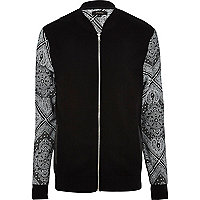 Black bandana sleeve bomber jacket