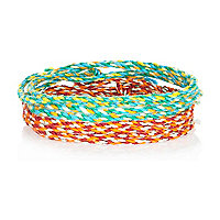 Green and orange woven bracelets pack