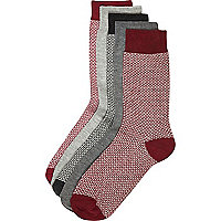 Dark red chain pattern socks pack