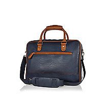 Navy contrast trim satchel