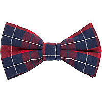 Red check clip on bow tie