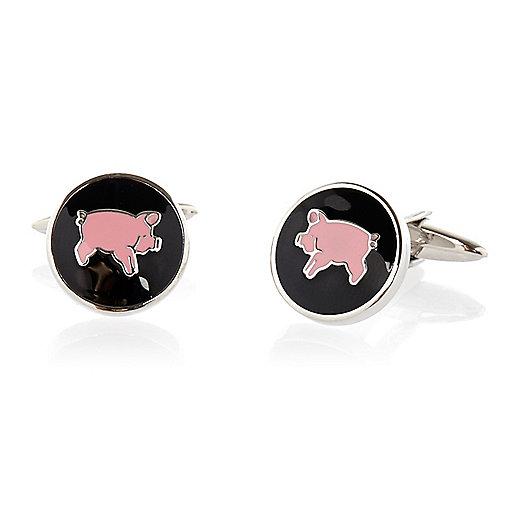 Black enamel pig cufflinks