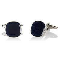 Navy enamel circular cufflinks