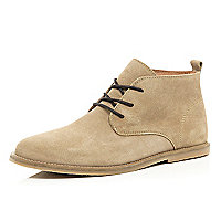 Stone suede desert boots