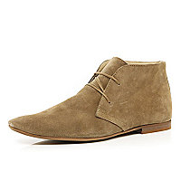 Stone lace up suede boots