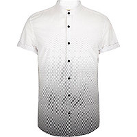 White ombre polka dot short sleeve shirt