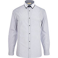 Grey stripe contrast trim double collar shirt