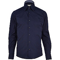 Navy double collar long sleeve shirt