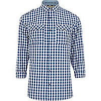 Blue check military shirt