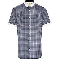 Blue check short sleeve shirt