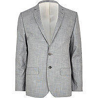 Light grey slub skinny suit jacket