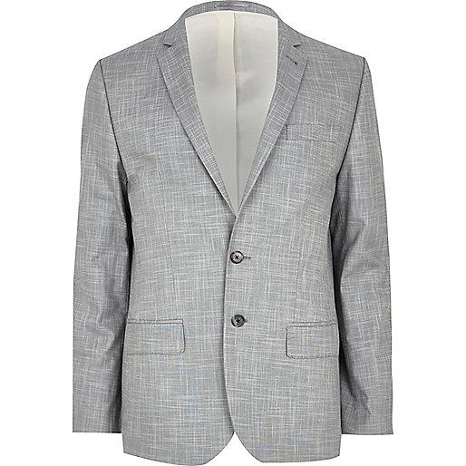 Light grey slub skinny suit jacket