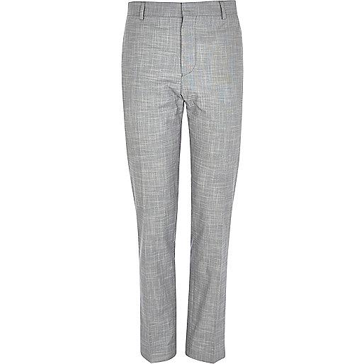 Light grey slub skinny suit trousers