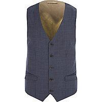 Blue single breasted waistcoat