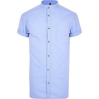 Blue grandad collar Oxford shirt