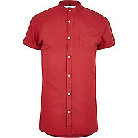 Bright red grandad collar Oxford shirt