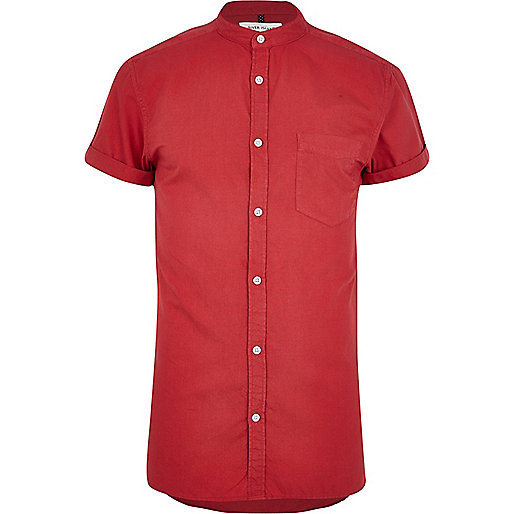 Bright red grandad collar Oxford shirt