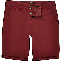 Dark slim red chino shorts