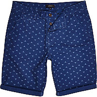 Blue ditsy pyramid print shorts