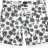 Ecru rose print canvas shorts