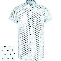 Blue ditsy star print short sleeve shirt