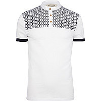 White tile yoke grandad collar polo shirt