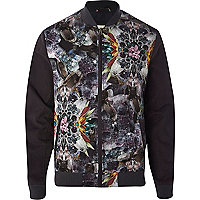 Grey gem stone abstract print bomber jacket