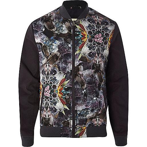 Grey gemstone abstract print bomber jacket