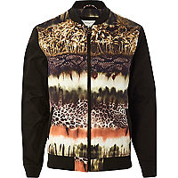 Black abstract jungle print bomber jacket