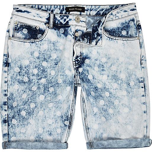 Blue acid wash polka dot shorts