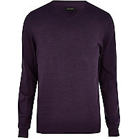 Purple V neck jumper