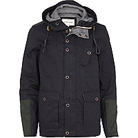 Navy contrast panel hooded casual jacket