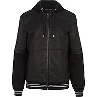 Black jersey sleeve leather-look jacket