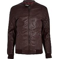 Dark red quilted panel biker jacket