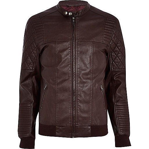 Dark red quilted panel biker jacket