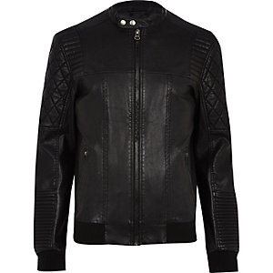 Black quilted panel leather-look biker jacket