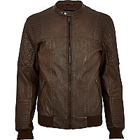 Tan quilted panel biker jacket