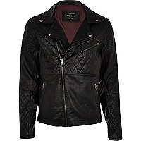 Black leather-look quilted panel biker jacket