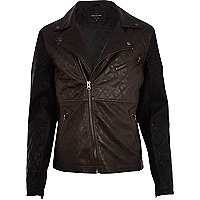 Black colour block biker jacket