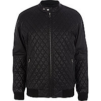 Black quilted leather-look bomber jacket