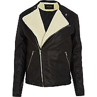 Black borg lined biker jacket