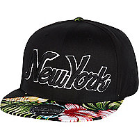 Black New York floral trucker hat