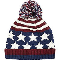Navy stars and stripes beanie hat
