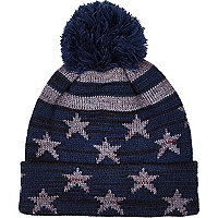 Navy star print bobble beanie hat
