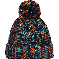 Multicoloured cable knit beanie hat