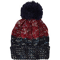 Dark red colour block cable beanie hat