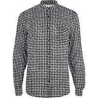 Black and white gingham grandad shirt
